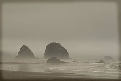 Cannon Beach In A Fog Oregon Art Print