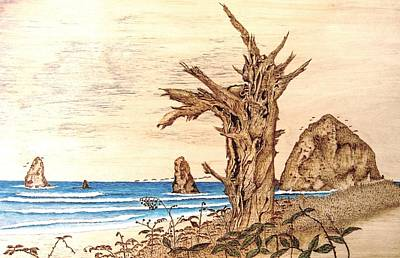 Pyrography On Wood Mixed Media - Cannon Beach In October by Roger Storey