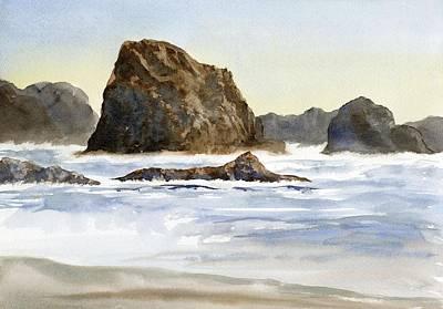 Cannon Beach Rocks With Waves Art Print