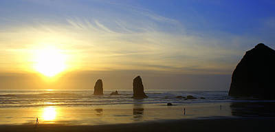 Cannon Beach Sunset Art Print by DerekTXFactor Creative
