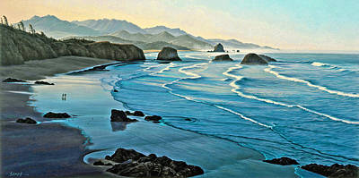 Oregon Painting - Cannon Beachcombers by Paul Krapf