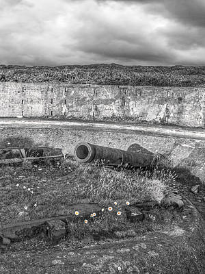Photograph - Cannon Site In Black And White by Gill Billington