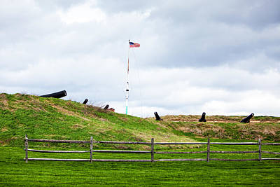 Flagpole Photograph - Cannons And The Star Spangled Banner by Susan Schmitz