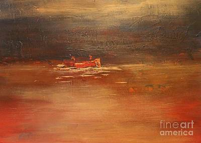 Canoe At Dusk Art Print