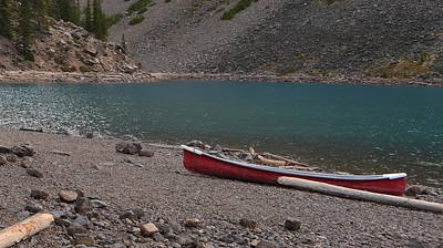 Canoe At Moraine Lake Art Print by Cheryl Miller