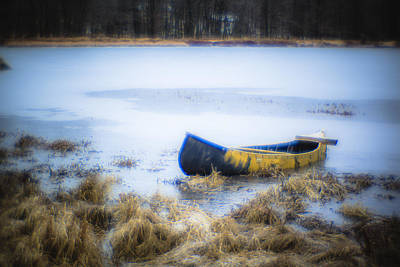 Canoe At The Frozen Lake Art Print