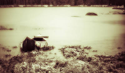Photograph - Canoe At The Frozen Lake In Poconos by Alex Potemkin