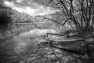 Trees And Lake Photograph - Canoe At The Lake Black And White by Debra and Dave Vanderlaan