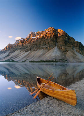 Canoe At The Lakeside, Bow Lake Art Print by Panoramic Images