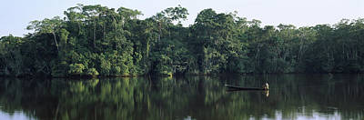 Canoe Photograph - Canoe In A River, Napo River, Oriente by Panoramic Images