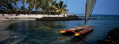 Canoe Photograph - Canoe In The Sea, Honolulu,puuhonua O by Panoramic Images