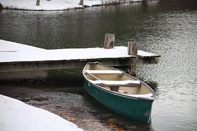 Canoe In Winter Art Print