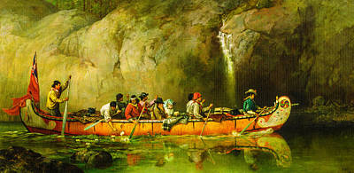 Canoe Digital Art - Canoe Manned By Voyageurs Passing A Waterfall by Frances Anne Hopkins