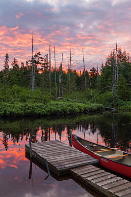 Canoe Photograph - Canoe Next To The Cold Stream by Jerry and Marcy Monkman