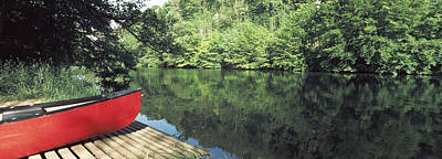 Canoe Photograph - Canoe On A Boardwalk In A River, Neckar by Panoramic Images