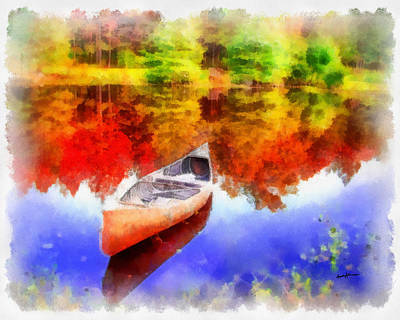 Row Boat Digital Art - Canoe On Autumn Pond by Anthony Caruso