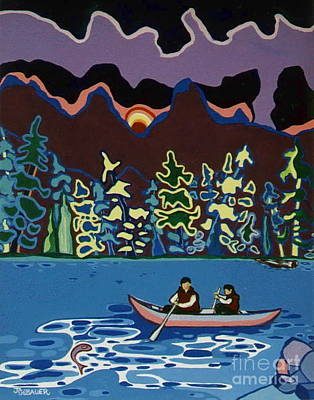Art Print featuring the painting Canoe On Lightning Lake by Joyce Gebauer