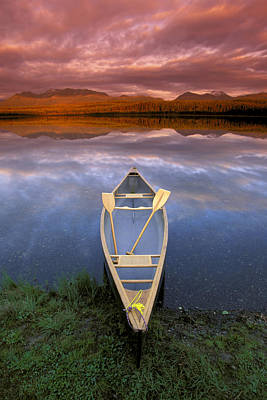Canoe On Otter Lake Evening Light Print by Michael DeYoung