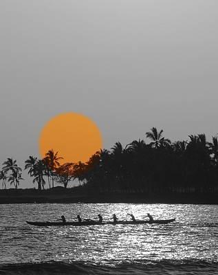 Canoe Ride In The Sunset Art Print