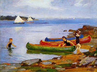 Boating Digital Art - Canoeing by Edward Potthast