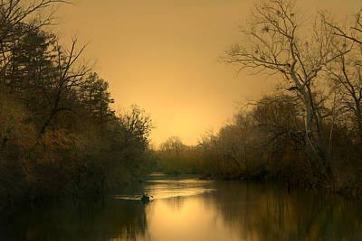 Luminism Photograph - Canoeing by Nina Fosdick