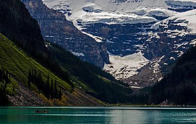 Photograph - Canoeing On Lake Louise - Banff National Park by Jordan Blackstone