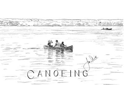 Canoeing On The Lake Art Print by Jan Stride