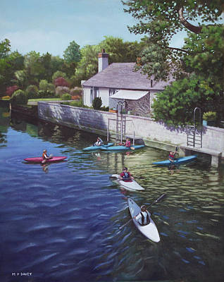 Painting - Canoeing On The River Avon Christchurch Uk by Martin Davey