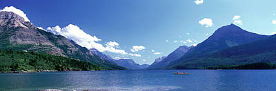 Canoeing Waterton Lake Waterton Glacier Art Print by Panoramic Images