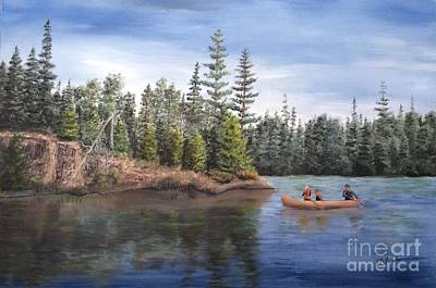 Canoeing With Dad Art Print by J O Huppler