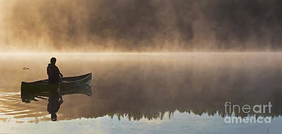 Canoeist On A Golden Misty Morning Art Print by Barbara McMahon