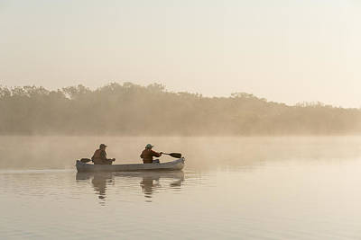 Canoeists At Dawn Everglades Np Florida Art Print