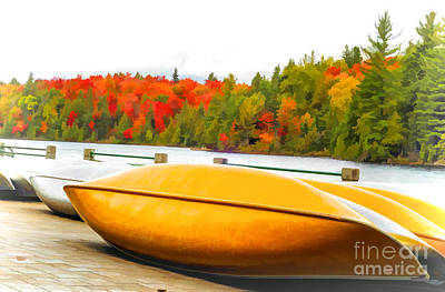 Photograph - Canoes At Algonquin Park - V2 by Les Palenik