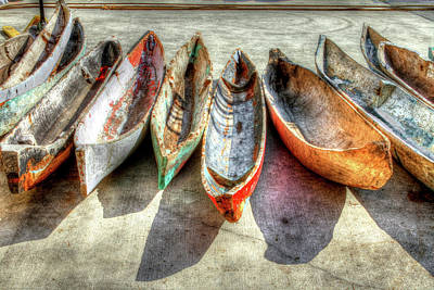 Docked Photograph - Canoes by Debra and Dave Vanderlaan