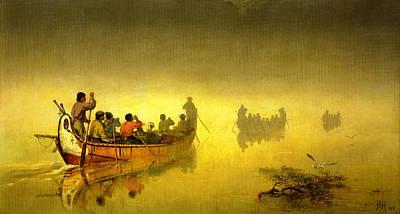 Canoe Digital Art - Canoes In A Fog On Lake Superior by Frances Anne Hopkins