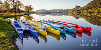 Art Print featuring the photograph Canoes In The Early Morning II by Kari Yearous