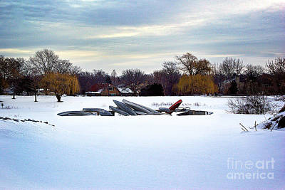 Frank J Casella Royalty-Free and Rights-Managed Images - Canoes in the Snow by Frank J Casella