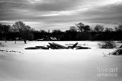 Frank J Casella Royalty-Free and Rights-Managed Images - Canoes in the Snow - Monochrome by Frank J Casella