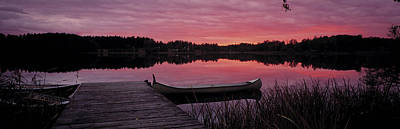 Canoe Photograph - Canoes Lake Yxtaholm Sweden by Panoramic Images