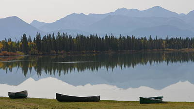 Photograph - Canoes On Lake by Cheryl Miller