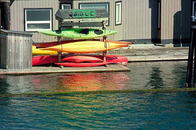 Canoe Digital Art - Canoes On Rack by Carol Ailles