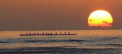 Canoe Mixed Media - Canoe's Sunset by Louie Tarter