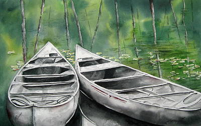 Canoes To Go Art Print by Mary McCullah