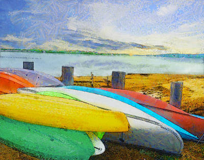 Digital Art - Canoes by William Sargent