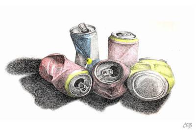 Coca Drawing - Cans Sketch by Conor O'Brien