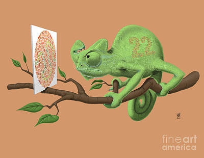 Chameleon Drawing - Can't See It Myself Colour by Rob Snow