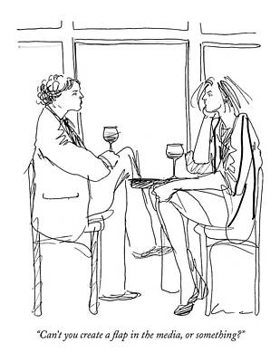 Glass Of Wine Drawing - Can't You Create A Flap In The Media by Richard Cline