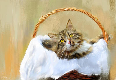 Basket Painting - Can't You See I'm Comfy by Lourry Legarde