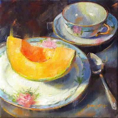 Linda Smith Painting - Cantalope On Fruit Plate by Linda Smith