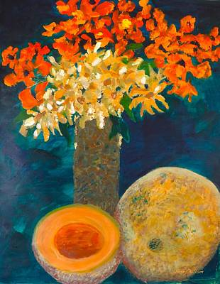 Cantaloupe Painting - Cantaloupe And A Half by Sherry Killam